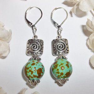 Green Turquoise & Brown Earring Set Handmade 3846